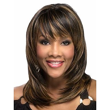 Syntetiske parykker Dame Bølget Syntetisk hår Afroamerikansk parykk Parykk Mellemlængde Lokkløs Brun Regnbue Sort / Medium Rødbrun
