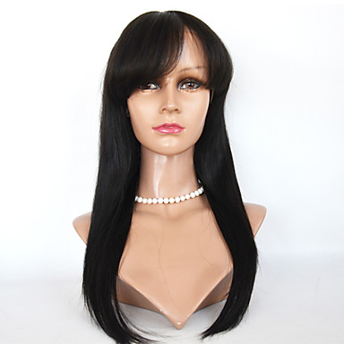 Human Hair Full Lace / Lace Front Wig Wig Straight 130% Density Natural Hairline / African American Wig / 100% Hand Tied Women's Short / Medium Length / Long Human Hair Lace Wig / With Bangs