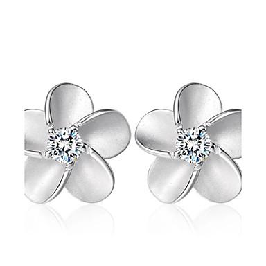 Kadın's Kübik Zirconia Vidali Küpeler - Som Gümüş, Kristal, Zirkon Moda Gümüş Uyumluluk Düğün / Parti / Günlük
