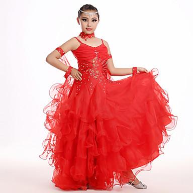 Gyermek - Latin tánc / Samba - Felszerelések ( Zöld / Rózsaszín / Piros / Fehér , Sifon , Redőzött )