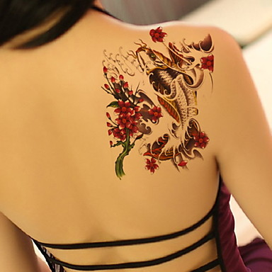 Plum Red Carp Waterproof Flower Arm Temporary Tattoos Stickers Non Toxic Glitter