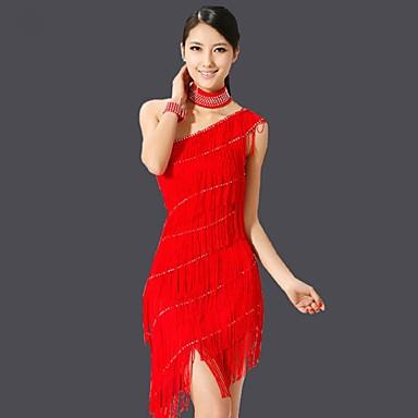 Latin Dance Dresses Women's Performance Chinlon Tassel Sleeveless Dress