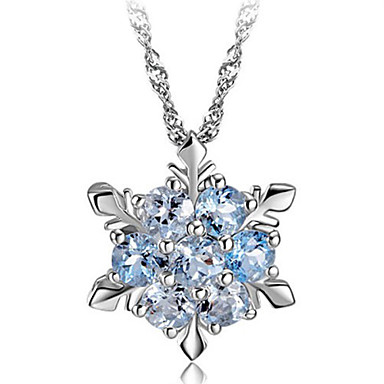 Women's Snowflake Sterling Silver Crystal Silver Pendant Necklace  -  Fashion Green Blue Pink Necklace For Party Daily Casual