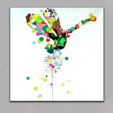 Kézzel festett Állat Négyzet,Modern Egy elem Vászon Hang festett olajfestmény For lakberendezési