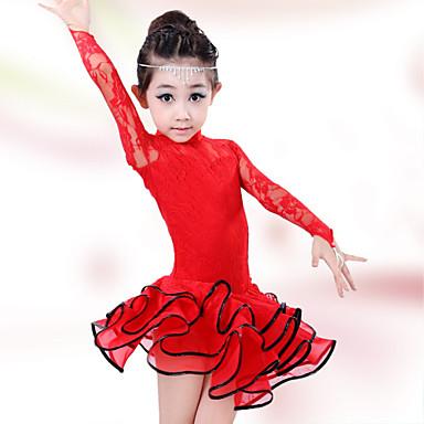 라틴 댄스 드레스 성능 면 스판덱스 레이스 긴 소매 높음 드레스