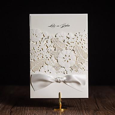 Szétnyiló Esküvői Meghívók Meghívók Művészeti stílus Modern stílus Virágos stílus Művészpapír Szalagok