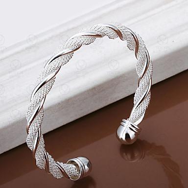 Damen versilbert Armreife / Manschetten-Armbänder - Einzigartiges Design / Einstellbar / Modisch Twist Circle / Gewebe Silber Armbänder