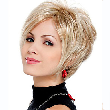 Women Synthetic Wig Short Wavy Blonde Costume Wig