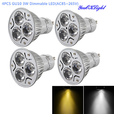 billige Elpærer-YouOKLight 4stk 3 W LED-spotpærer 280 lm GU10 R63 3 LED perler Høyeffekts-LED Mulighet for demping Dekorativ Varm hvit Kjølig hvit 220-240 V 110-130 V / 4 stk. / RoHs