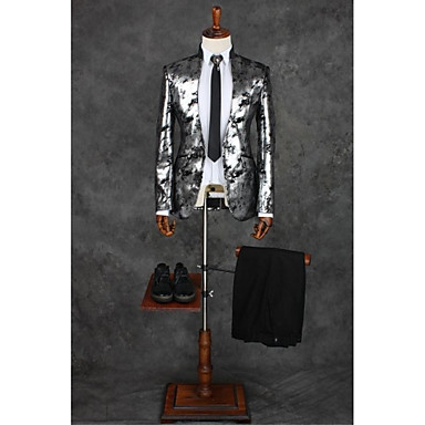 Gray Patterns Tailored Fit Polyester Suit - Mandarin Collar Single Breasted One-button