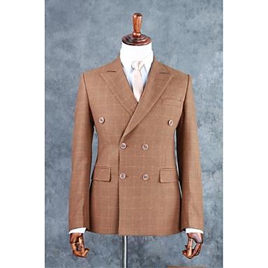 Brun Rutet / gingham Skreddersydd Bomullsblanding Dress - Med hakk Dobbelt-brystet Fire-knappet