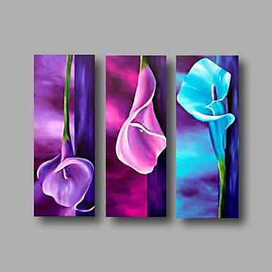 billige Trykk-Hang malte oljemaleri Håndmalte - Blomstret / Botanisk Moderne Inkluder indre ramme / Tre Paneler / Stretched Canvas