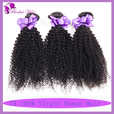 baratos Extensões de Cabelo Natural-3 pacotes Cabelo Malaio Encaracolado Clássico Kinky Curly 10A Cabelo Virgem Cabelo Humano Ondulado Tramas de cabelo humano Extensões de cabelo humano / Crespo Cacheado