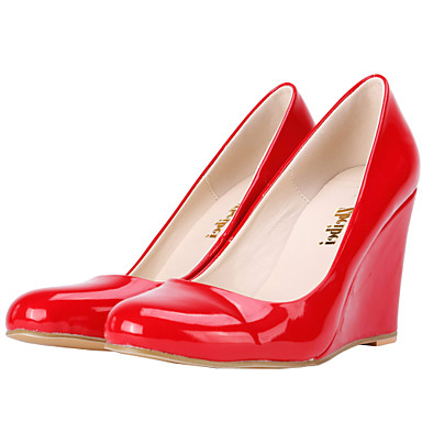 Women's Shoes Leatherette Wedge Heel Wedges / Heels Heels Party & Evening / Dress / CasualBlack / Blue