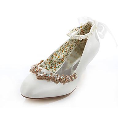 Kadın's Ayakkabı İpek Bahar / Yaz Düşük Topuk Düğün / Elbise / Parti ve Gece için Kristal Kristal