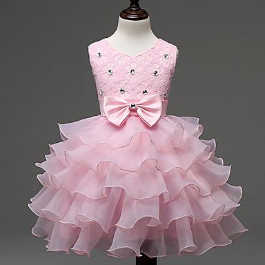 Χαμηλού Κόστους Φορέματα για κορίτσια-Παιδιά Κοριτσίστικα Γλυκός Πριγκίπισσα Πάρτι Γενέθλια Φεστιβάλ Μονόχρωμο Δαντέλα Φιόγκος Πολυεπίπεδο Αμάνικο Πολυεστέρας Φόρεμα Κόκκινο