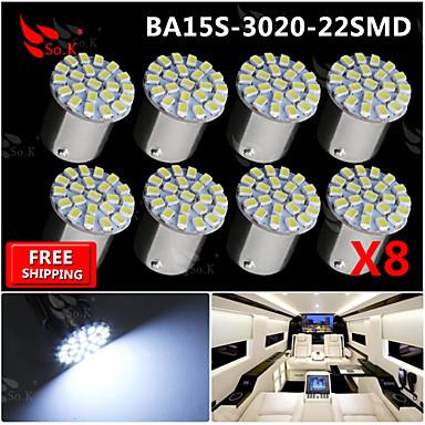 8x süper parlak 22 beyaz 1156 araç arka dönüş ışıklı sinyal ampul 12v 3020 smd led BA15s