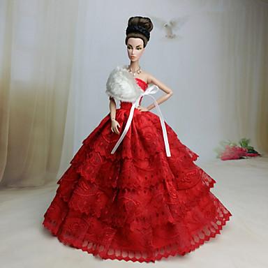 Esküvő Ruhák mert Barbie baba Piros Ruhák Mert Lány Doll Toy