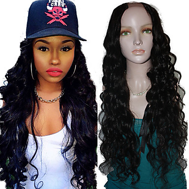 Human Hair Lace Wig Body Wave U Part 100% Hand Tied African American Wig Natural Hairline 130% Density natural black Medium Long