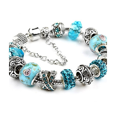 Damen Krystall versilbert Kugel Bettelarmbänder Strang-Armbänder - Freundschaft Modisch Perlenbesetzt Orange Blau Rosa Armbänder Für