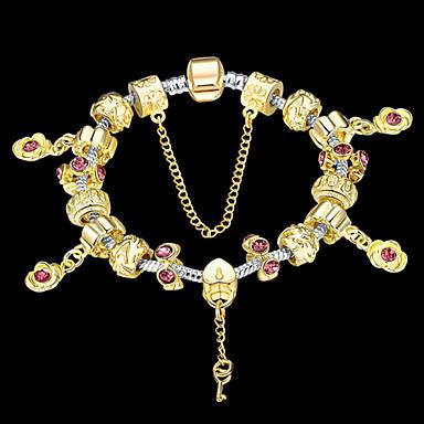 Feminino Casal Pulseiras com Pendentes Pulseiras Strand Cristal 18K ouro Moda Dourado-Vinho Jóias 1peça