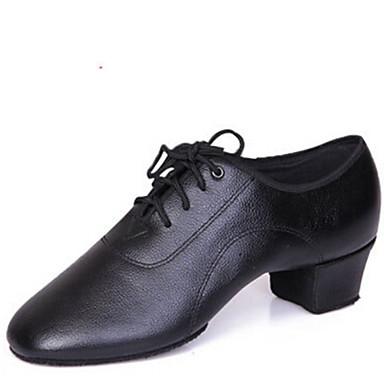 baratos Shall We® Sapatos de Dança-Homens Sapatos de Dança Couro Sapatos de Dança Latina Cadarço Salto / Meia Solas Salto Baixo Não Personalizável Preto / Interior / EU42