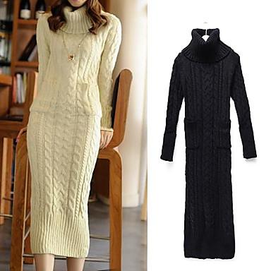 62365ccd8c malha moda suéter de lã longo vestido das mulheres (mais cores) de ...