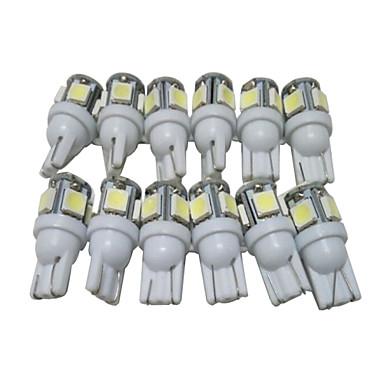 12pcs T10 Bil Elpærer 2.5W SMD 5050 90lm 5 LED utvendig Lights