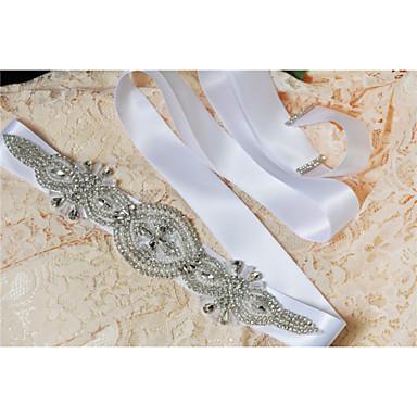 Satin Wedding Party/ Evening Dailywear Sash With Rhinestone Beading Pearls
