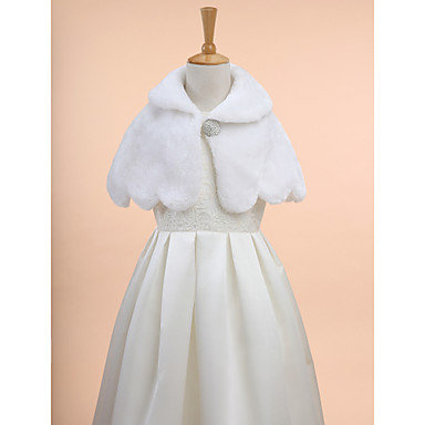 Sleeveless Faux Fur Wedding / Party Evening Kids' Wraps With Wave-like Capelets
