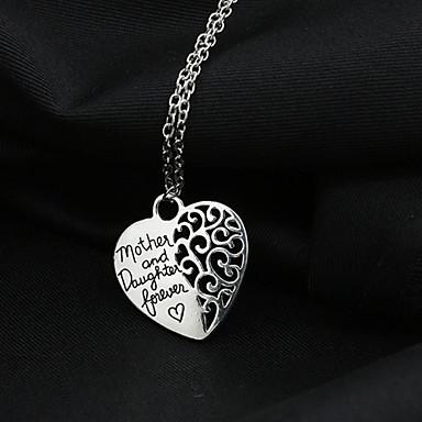 Női Nyaklánc medálok Ötvözet Heart Shape Ezüst Ékszerek Esküvő Parti Napi Hétköznapi 1db