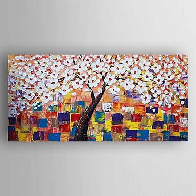 Hand-Painted Floral/Botanical Modern Realism Canvas Oil Painting Home Decoration One Panel