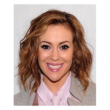 moda bayan kahverengi orta boy sentetik peruk