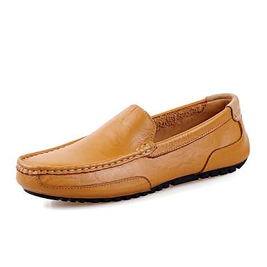 Miehet kengät Nappanahka Kevät Syksy Mokkasiinit Mokkasiinit Käyttötarkoitus Kausaliteetti Juhlat Musta Tumman sininen Maan keltainen