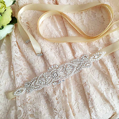 Satin Wedding Party / Evening Dailywear Sash With Rhinestone Crystal Beading Pearl Sequin Women's Sashes