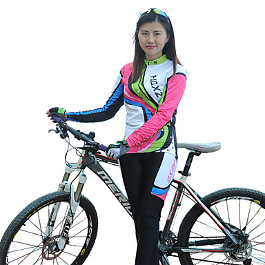 FJQXZ Women's Long Sleeves Cycling Jersey with Tights Bike Clothing Suits, Thermal / Warm, Quick Dry, Ultraviolet Resistant, Breathable,