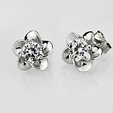 Kadın's Kristal Damla Küpeler - Mor, Gümüş