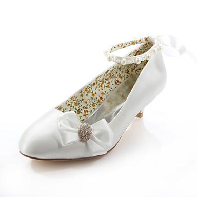 Kadın's Ayakkabı İpek Bahar / Yaz Düşük Topuk Düğün / Elbise / Parti ve Gece için Kristal / Kurdele Bağcık Kristal