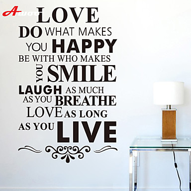 AWOO® New LOVE HAPPY SMILE LIVE Pattern Wall Sticker Group On Behalf Of English customization