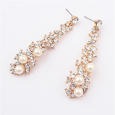 Women's Pearl Long Drop Earrings - Pearl, Imitation Pearl, Rhinestone European, Fashion Screen Color For