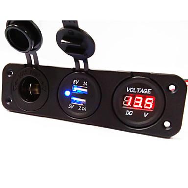 Soquete de energia do painel 3 furos + soquete carregador de carro Dual USB + voltímetro