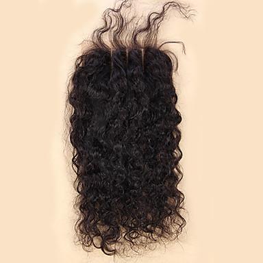 10-20inch Koromfekete (#1B) Kézi készített Laza hullám Emberi haj Bezárás Világos barna Svájci csipke 20-60g grammAlacsony / Átlagos /