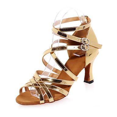 נעליים לטיניות דמוי עור סנדלים עקב רחב מותאם אישית נעלי ריקוד זהב / כסף / הצגה