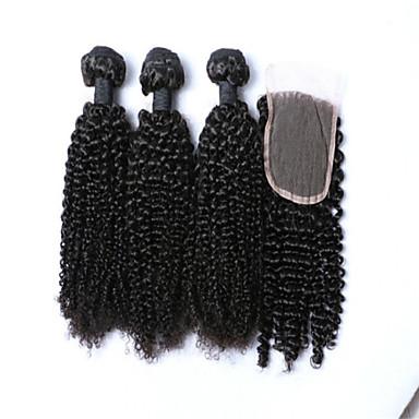 Hair Vetülék, zárral Mongol haj Kinky Curly 4 darab haj sző