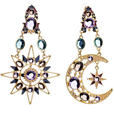 Damla Küpeler Moda lüks mücevher Avrupa imitasyon Pırlanta alaşım MOON Ekran Rengi Mücevher Için 2pcs