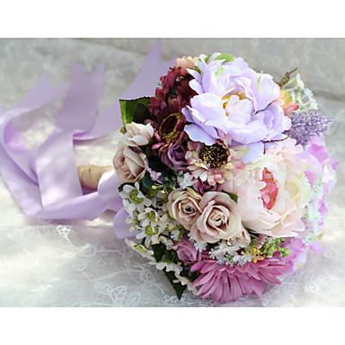Esküvői virágok Kör Bazsarózsák Csokrok Esküvő Parti /Estélyi Poliészter Szatén Kb. 26 cm