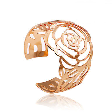 Women's Hollow Cuff Bracelet - Roses, Flower Simple Style Bracelet Golden For Party / Daily / Casual