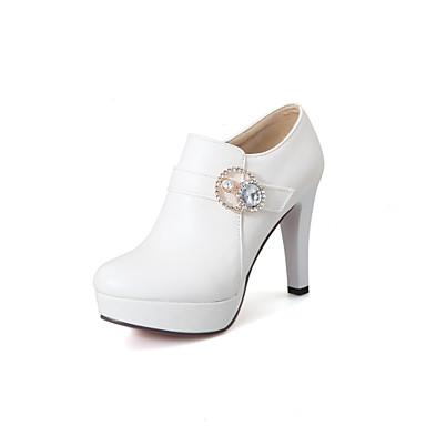 Mulheres Sapatos Courino Verão Outono Conforto Saltos Caminhada Salto Agulha Ponta Redonda Presilha para Casual Social Branco Preto