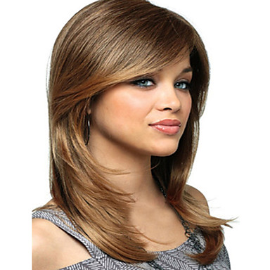 Synthetic Wig Straight With Bangs Blonde Women's Capless Carnival Wig Halloween Wig Medium Synthetic Hair