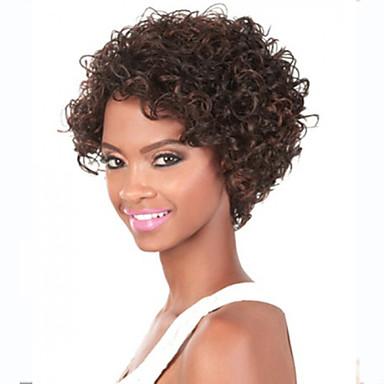 Női Szintetikus parókák Géppel készített Rövid Kinky Curly Beige Fekete hölgyeknek Afro-amerikai paróka jelmez paróka